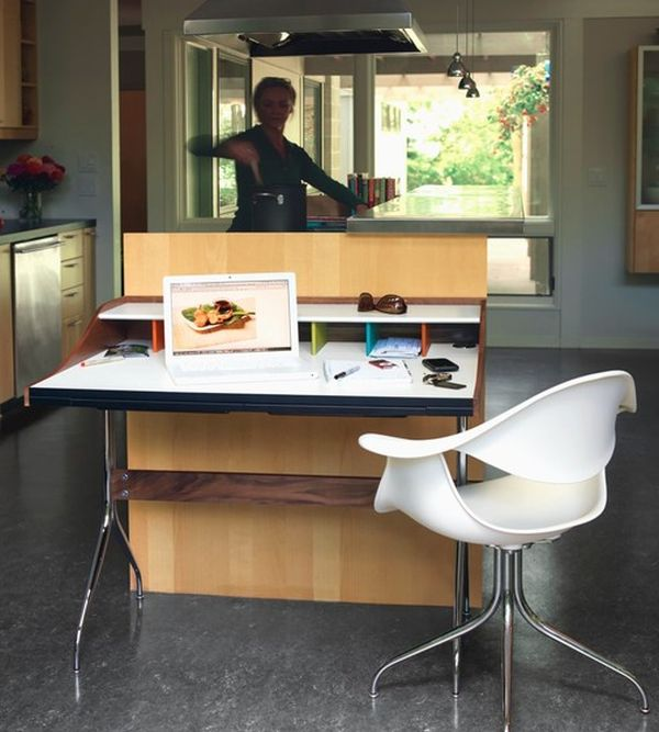 Create a compact work station in the kitchen with the savvy Nelson Swag Leg Desk