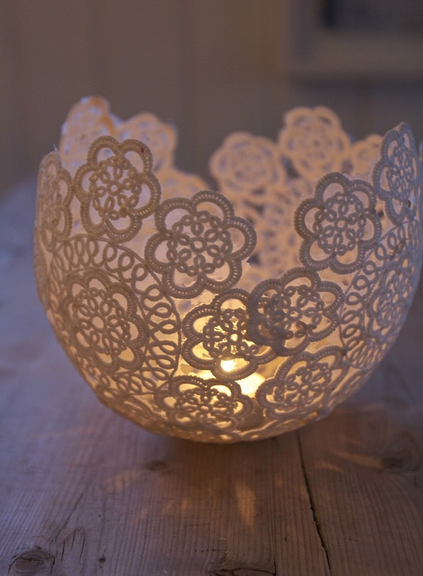 Crochet doily candle holder