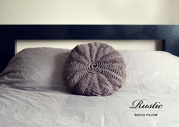 Crochet ruffled decorative pillow