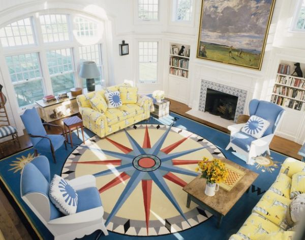Custom compass rug design adds nautical touches in an exclusive fashion