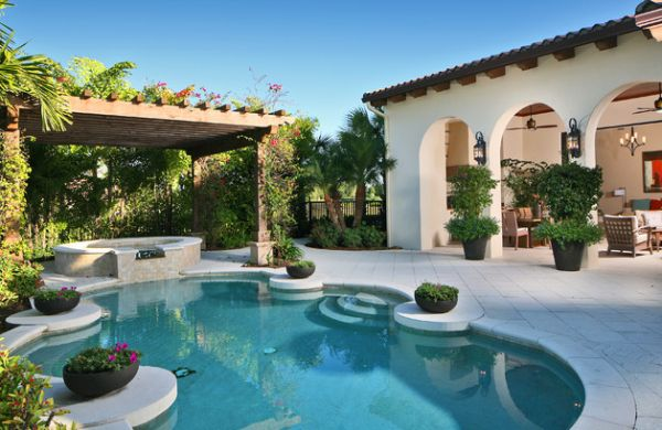 Shaded to perfection elegant pergola designs for the for Garden oaks pool