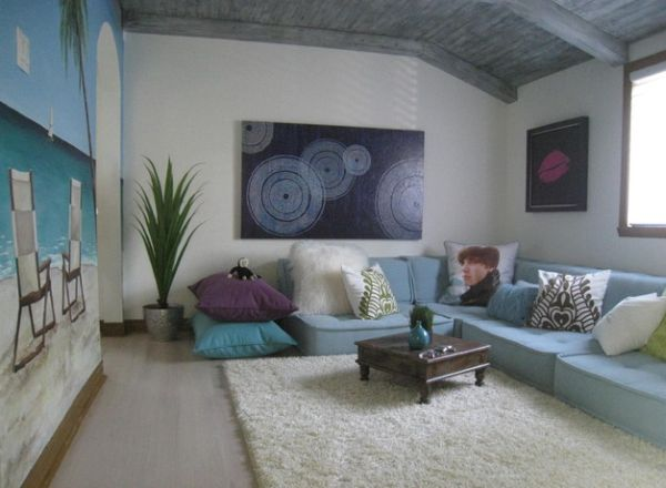 View In Gallery Custom Low Sofa And Giant Floor Pillows Create A Snazzy  Kids Room Part 15