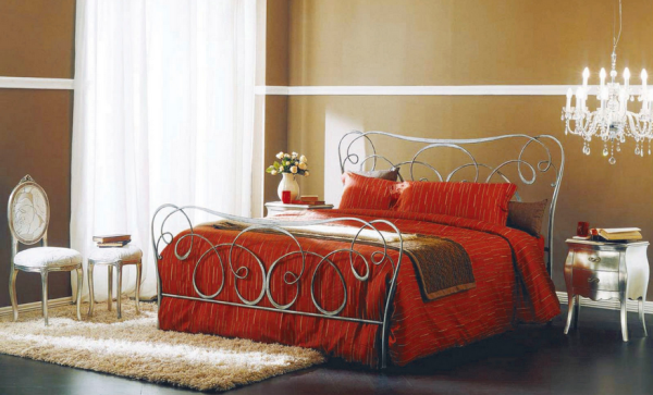 Dark Gray Bontempi Altea Wrought Iron Bed with Red Bedspread