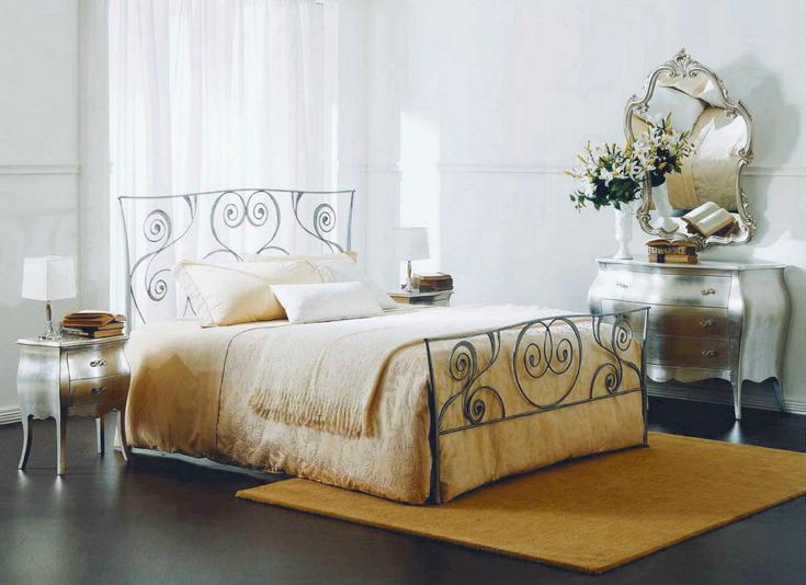 Dark Gray Bontempi Macrame Wrought Iron Bed with Yellow Rug