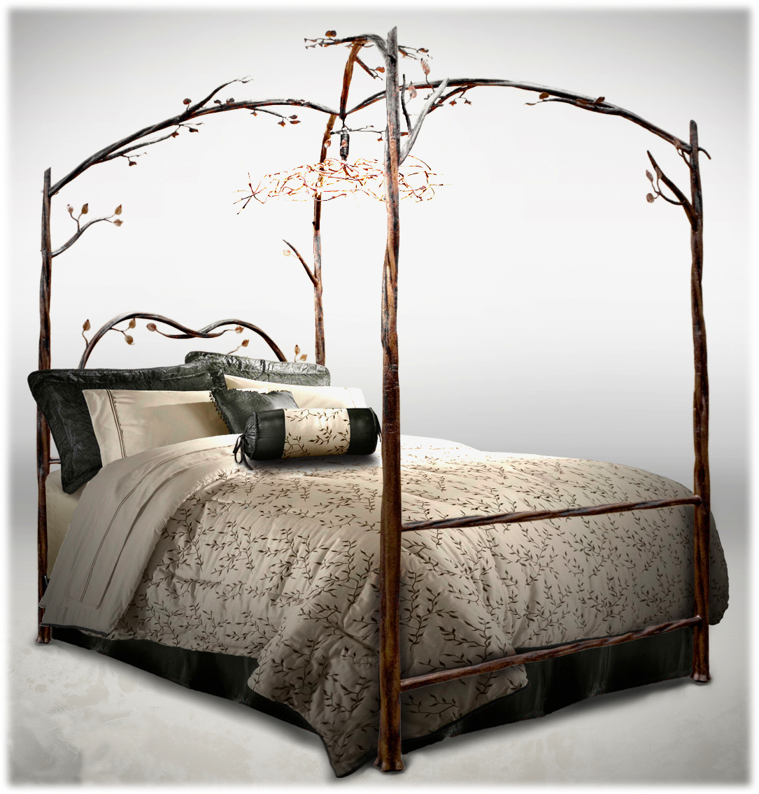 this wrought iron canopy bed is shown with an exquisite wrought iron