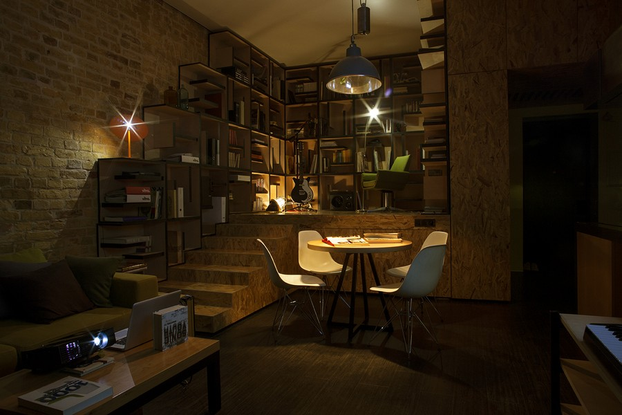 Dim and focussed lighting inside the Kiev apartment