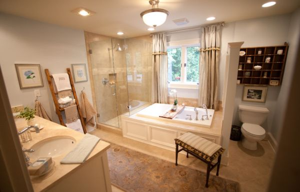 Display the towels using the teak ladder with shelves next to the glass shower area