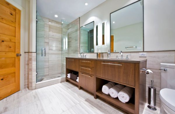 ... Bathroom View In Gallery Elegant Display With Neatly Folded Towels In  The Built In Cabinets Of The Vanity