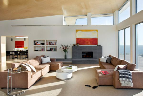 Fabulous modern living room showcases the Eileen Gray Side Table
