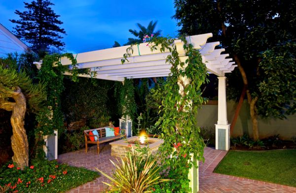 Fireplace creates an instant focal point in the pergola design