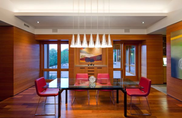 Fucsia Pendants By Achille Castiglioni For Flos above the dining table