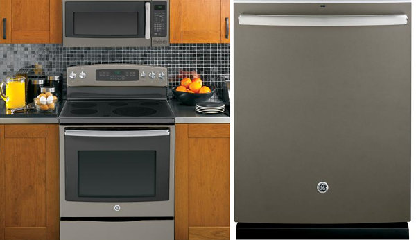 GE microwave, oven and dishwasher in slate