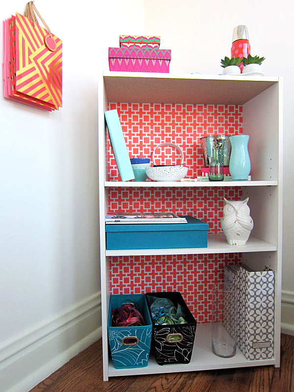 Geometric bookshelf makeover
