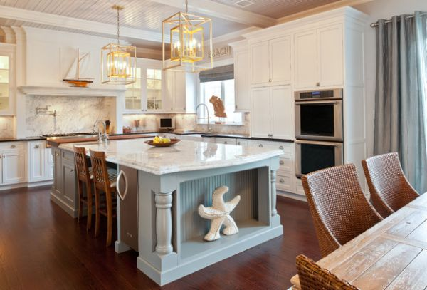 Giant starfish steals the show in this modern coastal kitchen