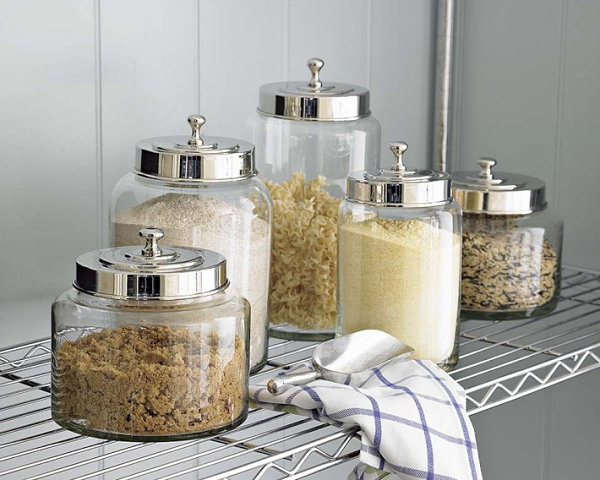Glass canisters with stainless steel lids