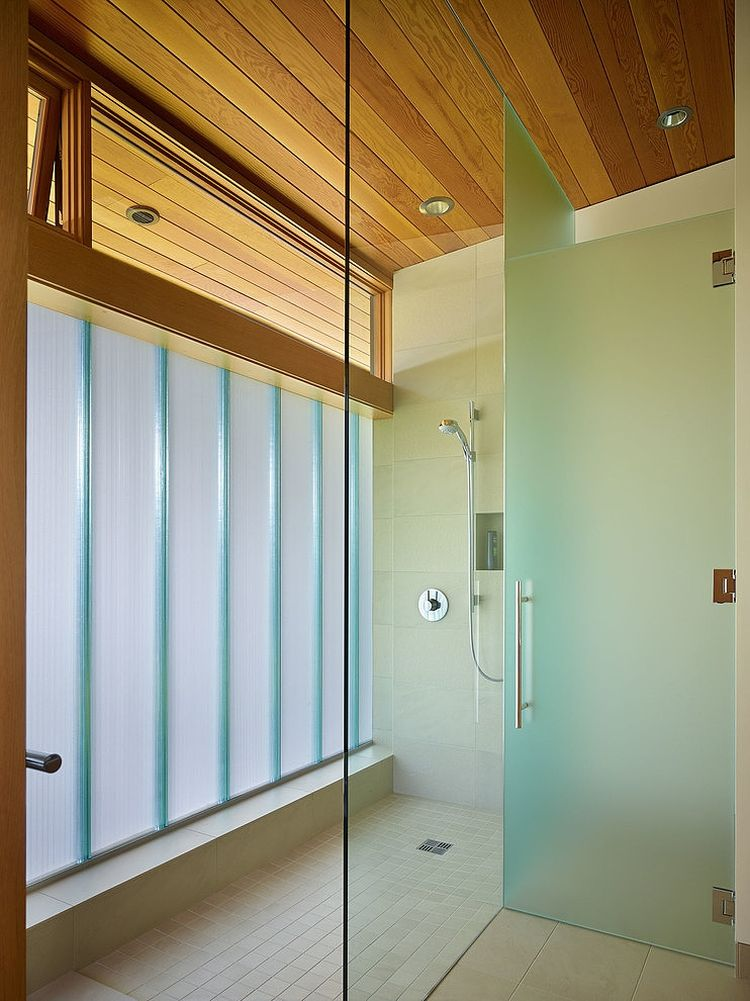Glass shower enclosure in the bathroom
