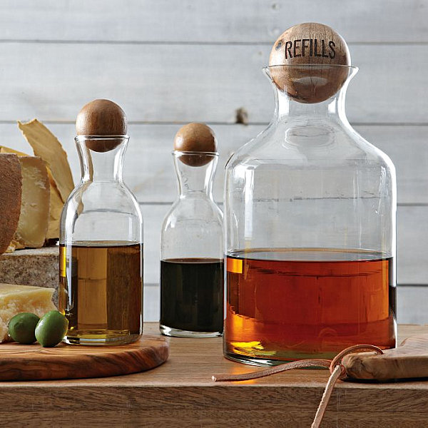 Glass storage bottles with wooden tops