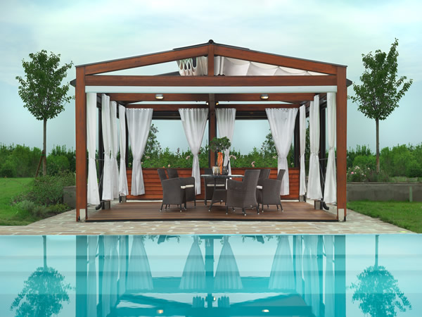 Gorgeous pergola with a cool retractable roof