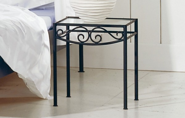 Hasena Romantic Rialto wrought iron bedside table glass top closeup