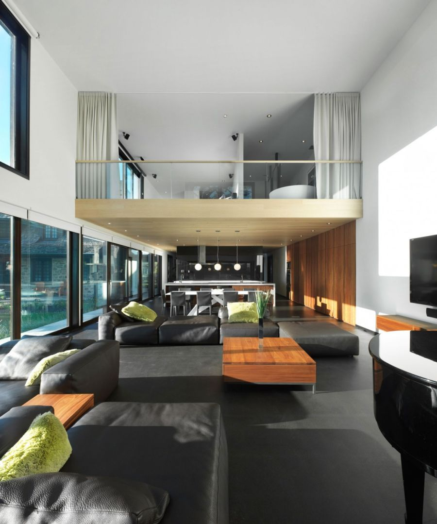 High ceilings create airy interiors