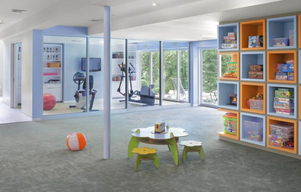 Home gym and an open playroom design – Workout without worrying about the little ones!