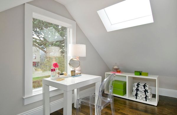 Home office in the attic with a mini version of the Parsons desk!