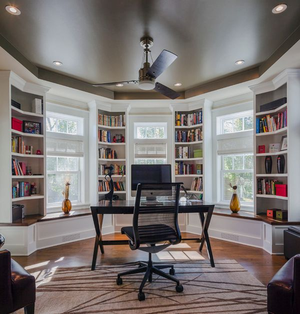 Home study with beautiful bookcases