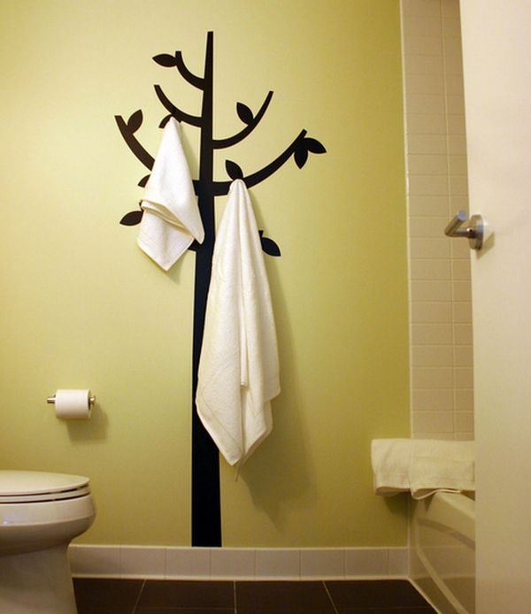 View In Gallery Hook And Decal Combination Double Up As Engaging Bathroom Wall Decor