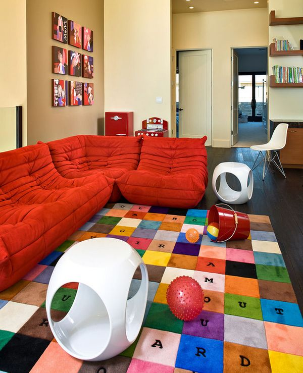 Iconic Togo sofa is a perfect addition to the kids' plaroom