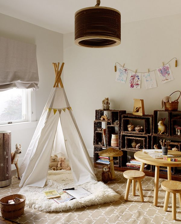 Indoor tepee is  alot more fun that the conventional playroom designs!