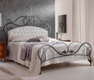 Infabbrica Ethos wrought iron bed with tufted headboard