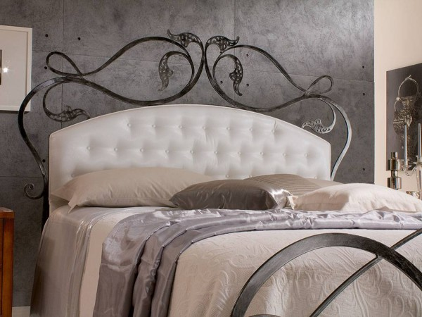 Infabbrica Ethos wrought iron bed with tufted headboard closeup