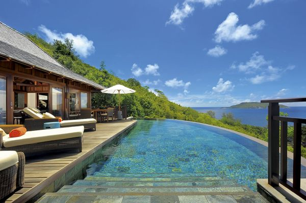 Infinity pool with ocean views