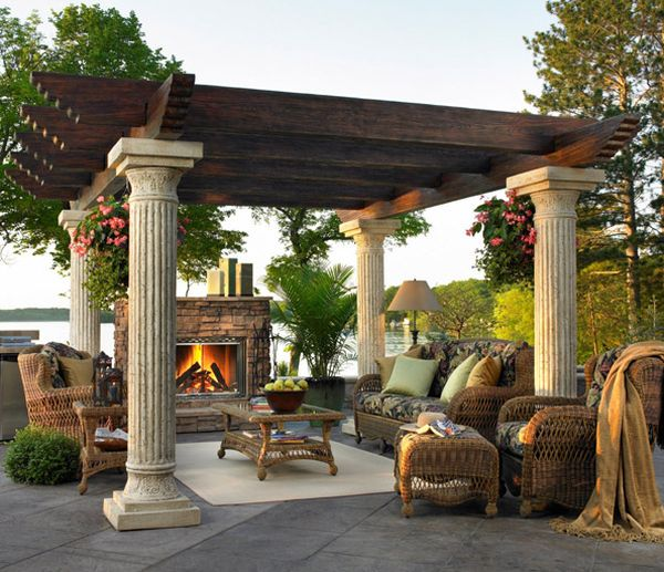 Intricately carved stone pillars bring some classic charm