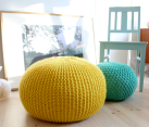 Knitted poof ottoman DIY