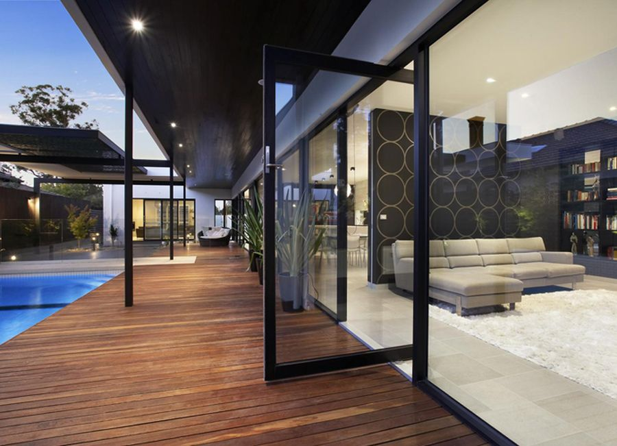 Large glass doors that connect the patio