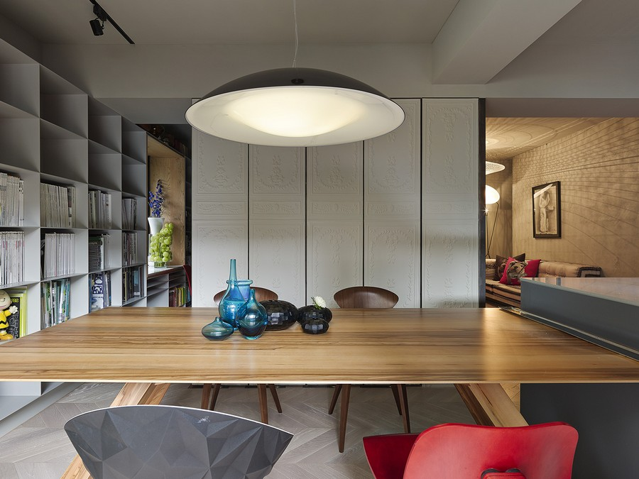 Large pendant light above the dining space Brilliant Taipei Apartment Doubles Up As A Sophisticated Office Space