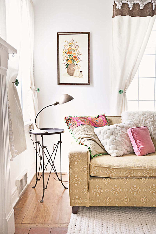 Living room featuring vintage finds