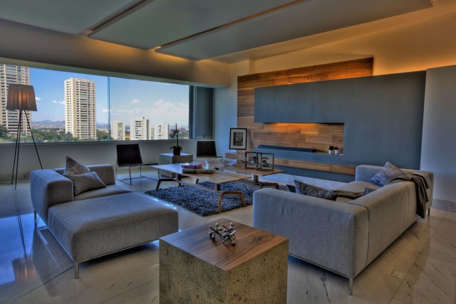 Living room in gray of P 901 Lavish Interior And Lovely Views Shape P 901 Residence In Mexico City