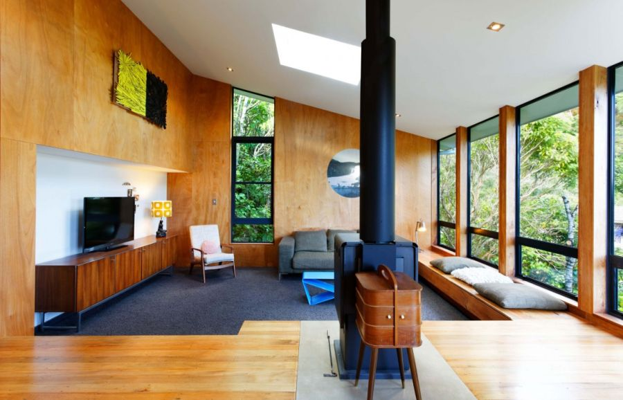 Living room sports warm wooden surfaces