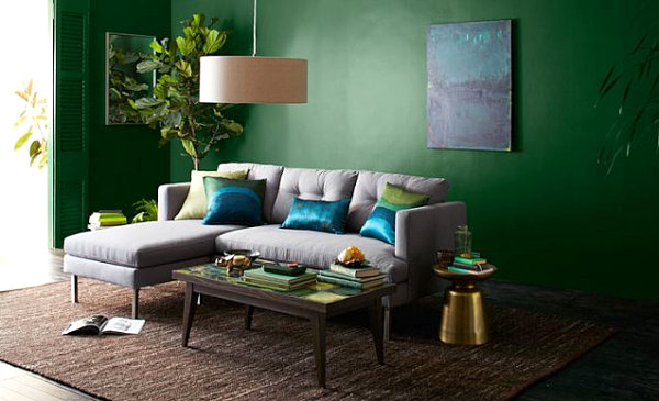 Living room with saturated color