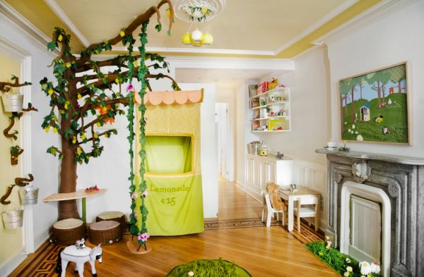 Lovely playroom embraces the enchanted woods theme in style!