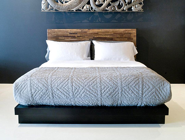Low reclaimed wood bed with headboard