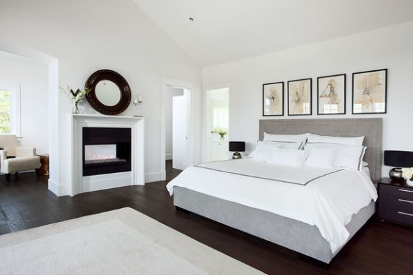 Luxurious bedroom with fireplace in black, white and gray