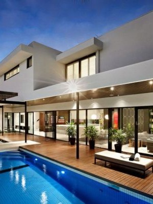 Luxurious pool area of the Balaclava Road residence in Melbourne