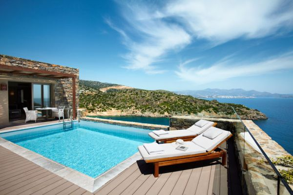 Luxury villa pool area in Greece Resort