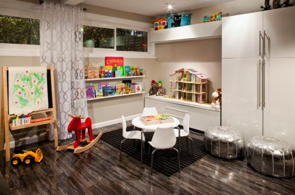 View in gallery Metallic leather puffs add silver glitter to the modern  Playroom. 40 Kids Playroom Design Ideas That Usher In Colorful Joy