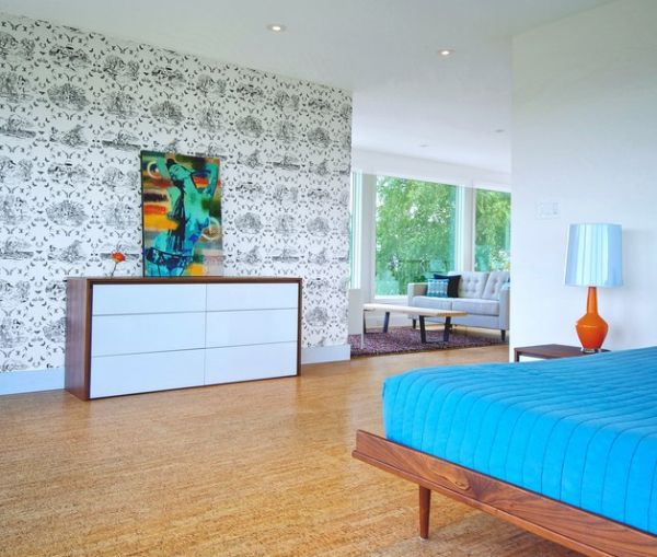 Mid century modern bedroom with wallpaper that draws inspiration from a toile style