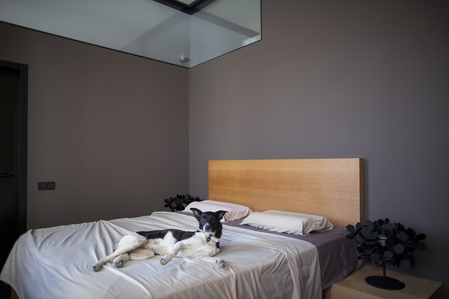 Minimalist bedroom in gray