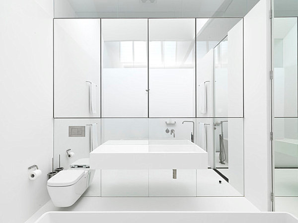 Mirrored storage in a contemporary bathroom